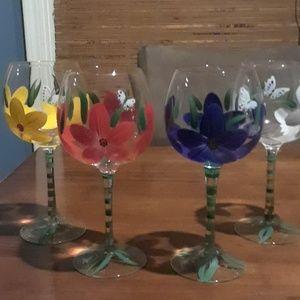 Beautiful hand painted wine glasses